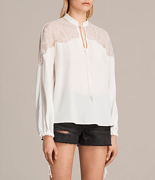 Womens Laya Lace Silk Shirt (Chalk White) - product_image_alt_text_2