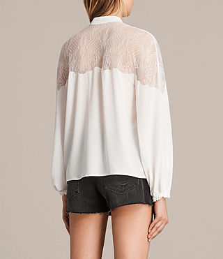 Women's Laya Lace Silk Shirt (Chalk White) - Image 3