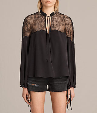 Donne Laya Lace Silk Shirt (Black) -