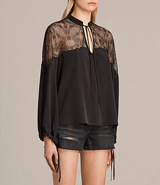 Donne Laya Lace Silk Shirt (Black) - product_image_alt_text_3