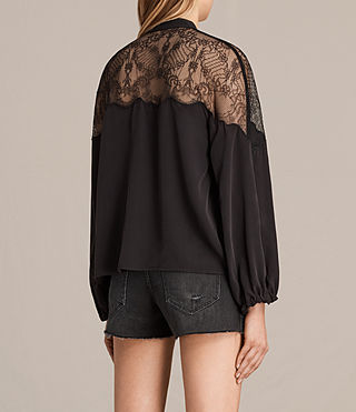 Donne Laya Lace Silk Shirt (Black) - product_image_alt_text_4