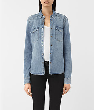Damen Kaia Indigo Denim Shirt (Indigo Blue)