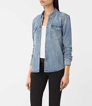 Damen Kaia Indigo Denim Shirt (Indigo Blue) - product_image_alt_text_2