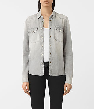 Mujer Camisa de denim Kaia en gris (Light Grey) -