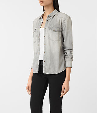 Mujer Camisa de denim Kaia en gris (Light Grey) - product_image_alt_text_2