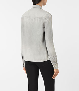 Damen Kaia Grey Denim Shirt (Light Grey) - product_image_alt_text_3