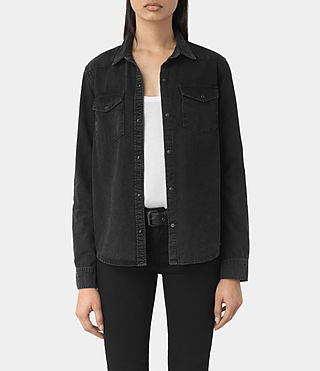 Womens Kaia Black Denim Shirt (Washed Black) - product_image_alt_text_1