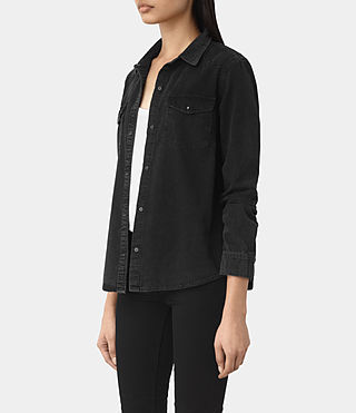 Womens Kaia Black Denim Shirt (Washed Black) - product_image_alt_text_2