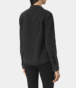 Damen Kaia Black Denim Shirt (Washed Black) - product_image_alt_text_3