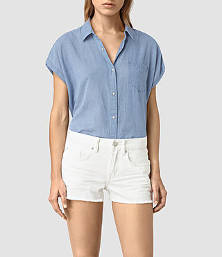 Womens Tyra Short Sleeve Shirt (LIGHT INDIGO BLUE)