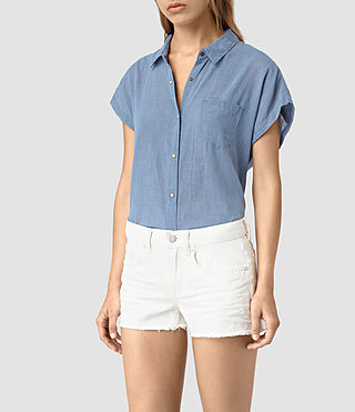 Damen Tyra Short Sleeve Shirt (LIGHT INDIGO BLUE) - product_image_alt_text_3