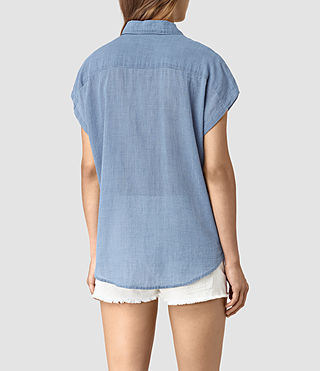 Damen Tyra Short Sleeve Shirt (LIGHT INDIGO BLUE) - product_image_alt_text_4