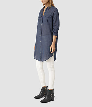 Women's Tyra Long Shirt (DARK INDIGO BLUE)