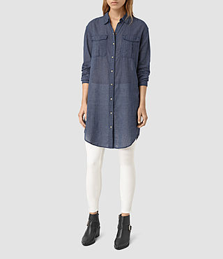 Donne Tyra Long Shirt (DARK INDIGO BLUE) - product_image_alt_text_3