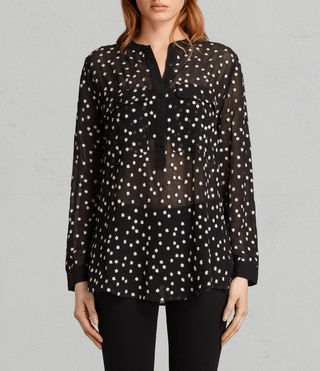 Womens Picolina Embroidered Shirt (Black) - product_image_alt_text_1