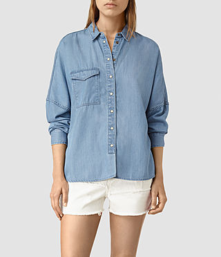 Womens Bella Oversize Shirt (LIGHT INDIGO BLUE) - product_image_alt_text_1
