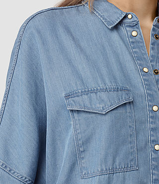 Womens Bella Oversize Shirt (LIGHT INDIGO BLUE) - product_image_alt_text_2
