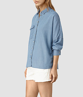 Womens Bella Oversize Shirt (LIGHT INDIGO BLUE) - product_image_alt_text_3