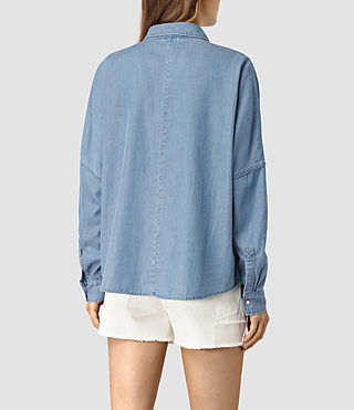 Womens Bella Oversize Shirt (LIGHT INDIGO BLUE) - product_image_alt_text_4