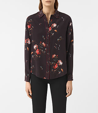 Women's Gira Amarillo Silk Shirt (Maroon)