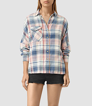Femmes Bella Oversize Check Shirt (Indigo Check)