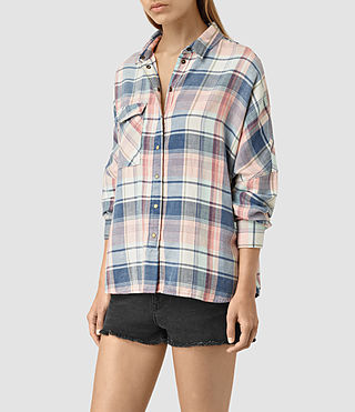 Womens Bella Oversize Check Shirt (Indigo) - product_image_alt_text_2
