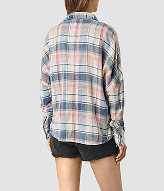 Womens Bella Oversize Check Shirt (Indigo) - product_image_alt_text_3
