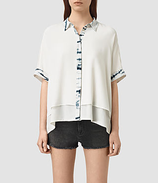 Womens Wilder Tye Silk Shirt (CHALK WHITE/BLUE)
