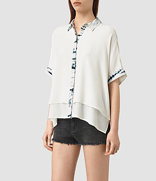 Womens Wilder Tye Silk Shirt (CHALK WHITE/BLUE) - product_image_alt_text_3