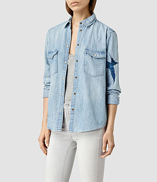 Women's Birds Denim Shirt (Indigo Blue)