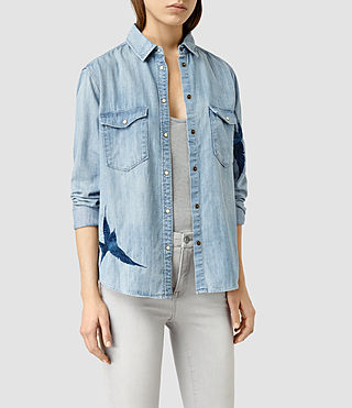 Mujer Birds Denim Shirt (Indigo Blue) - product_image_alt_text_2