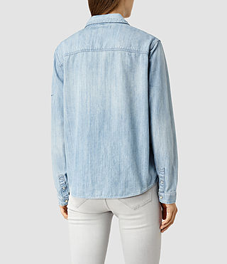 Mujer Birds Denim Shirt (Indigo Blue) - product_image_alt_text_3