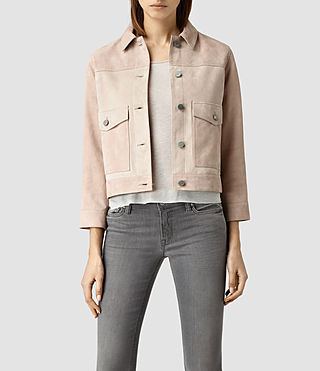 Womens Sykes Suede Jacket (Dusty Pink)