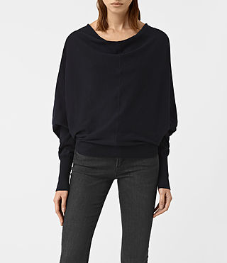Women's Elgar Cowl Neck Jumper (Ink Blue)