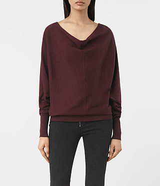 Womens Elgar Cowl Neck Sweater (Damson Red) - product_image_alt_text_1