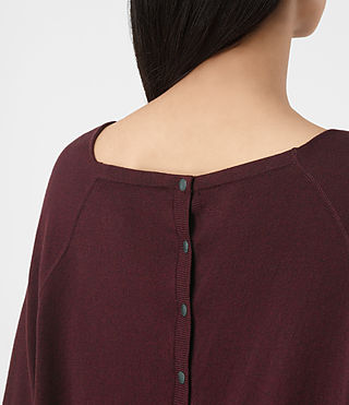 Womens Elgar Cowl Neck Sweater (Damson Red) - product_image_alt_text_2