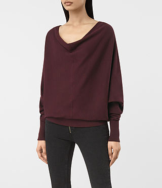 Womens Elgar Cowl Neck Sweater (Damson Red) - product_image_alt_text_3