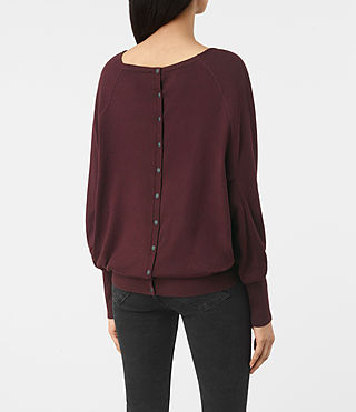 Mujer Elgar Cowl Neck Sweater (Damson Red) - product_image_alt_text_4