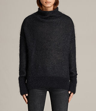 Mujer Deuce Cowl Neck Sweater (Black/Charcoal) - product_image_alt_text_1
