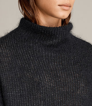 Mujer Deuce Cowl Neck Sweater (Black/Charcoal) - product_image_alt_text_2