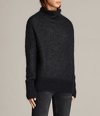 Mujer Deuce Cowl Neck Sweater (Black/Charcoal) - product_image_alt_text_3