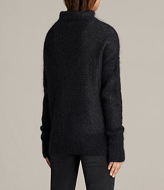 Mujer Deuce Cowl Neck Sweater (Black/Charcoal) - product_image_alt_text_4