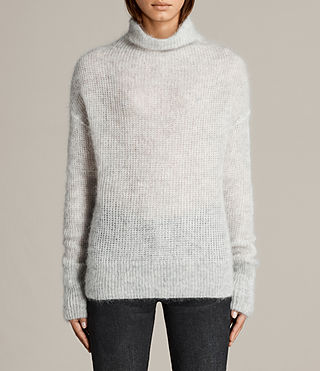 Womens Deuce Cowl Neck Sweater (LGHT GRY/CHALK WHT) - Image 1