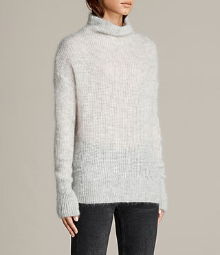 Womens Deuce Cowl Neck Sweater (LGHT GRY/CHALK WHT) - Image 3