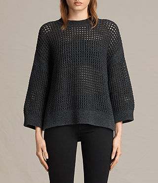 Womens Eden Crew Neck Sweater (Charcoal Grey)