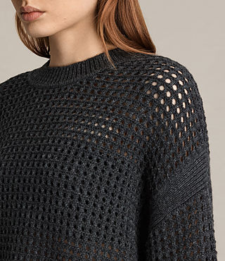 Women's Eden Crew Neck Jumper (Charcoal Grey) - product_image_alt_text_2