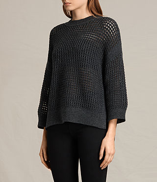 Women's Eden Crew Neck Jumper (Charcoal Grey) - product_image_alt_text_3