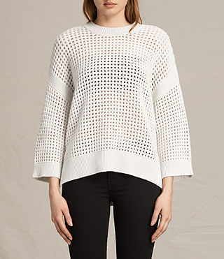 Women's Eden Crew Neck Jumper (PORCELAIN WHITE) -