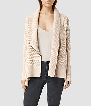Womens Fragment Cardigan (PORCELN WHITE/NUDE)