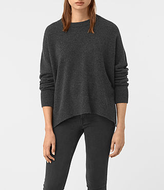 Womens Kasha Cashmere Sweater (Charcoal)
